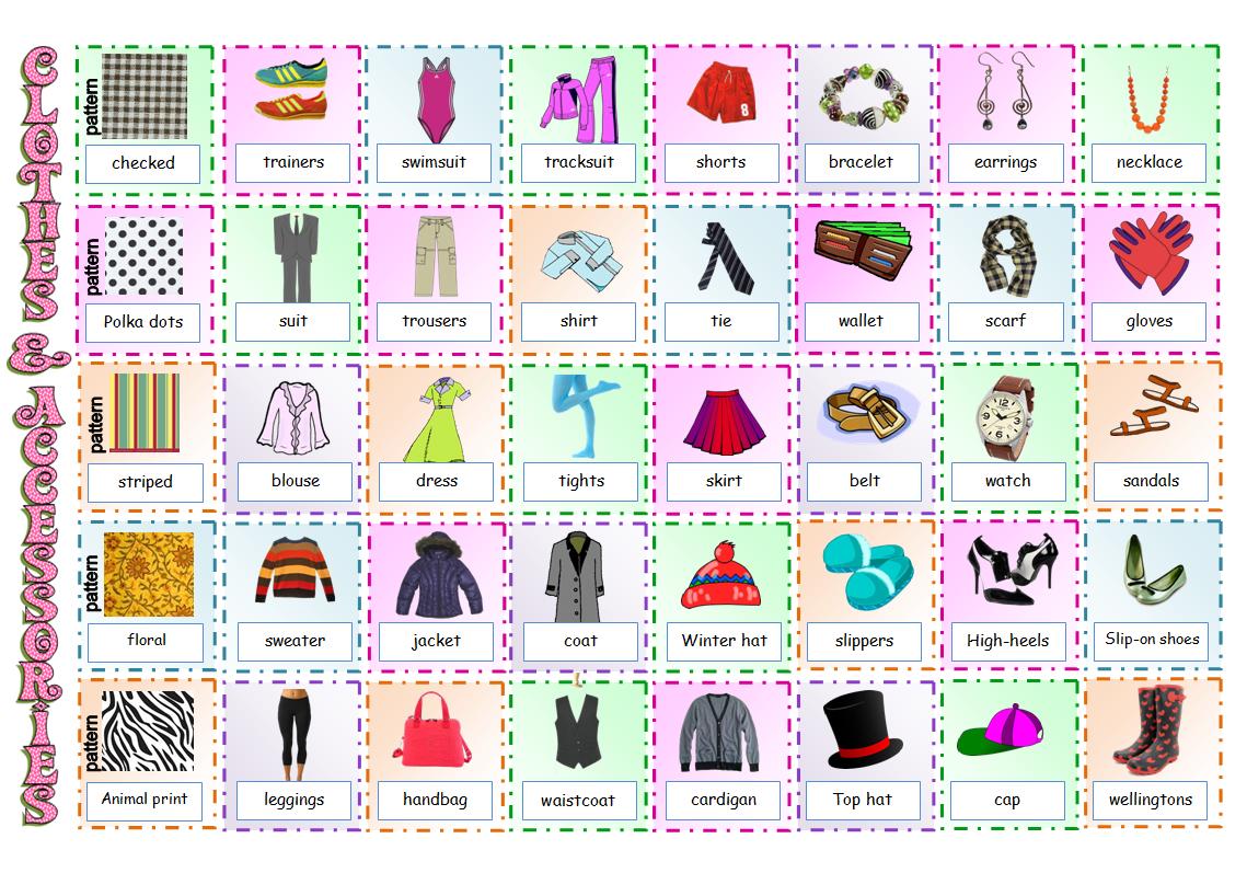 Clothes vocabulary game