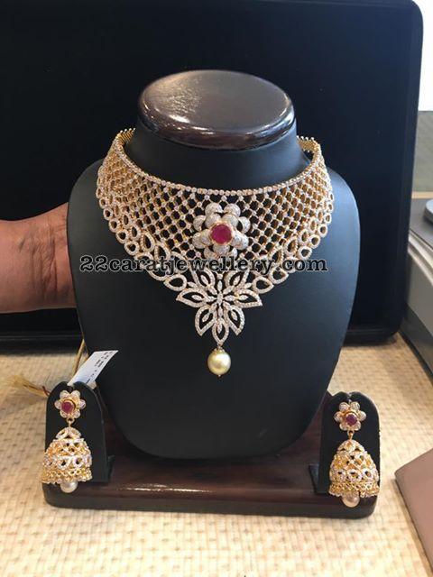 Diamond Set Jhumkas by Vummidi Jewellers