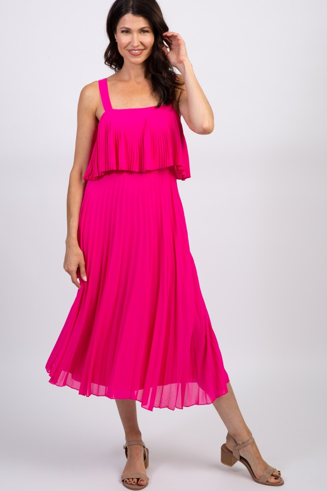 Pink Blush Fuchsia Pleated Layered Dress