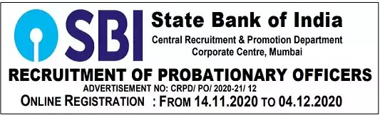SBI Recruitment Probationary Officers Vacancy 2020