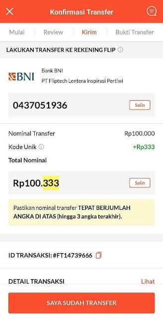 Cara kirim uang dengan Flip