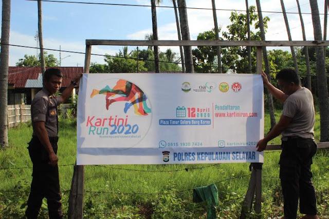 Sukseskan Kartini Run 2020, Polres Kepulauan Selayar Pasang Spanduk