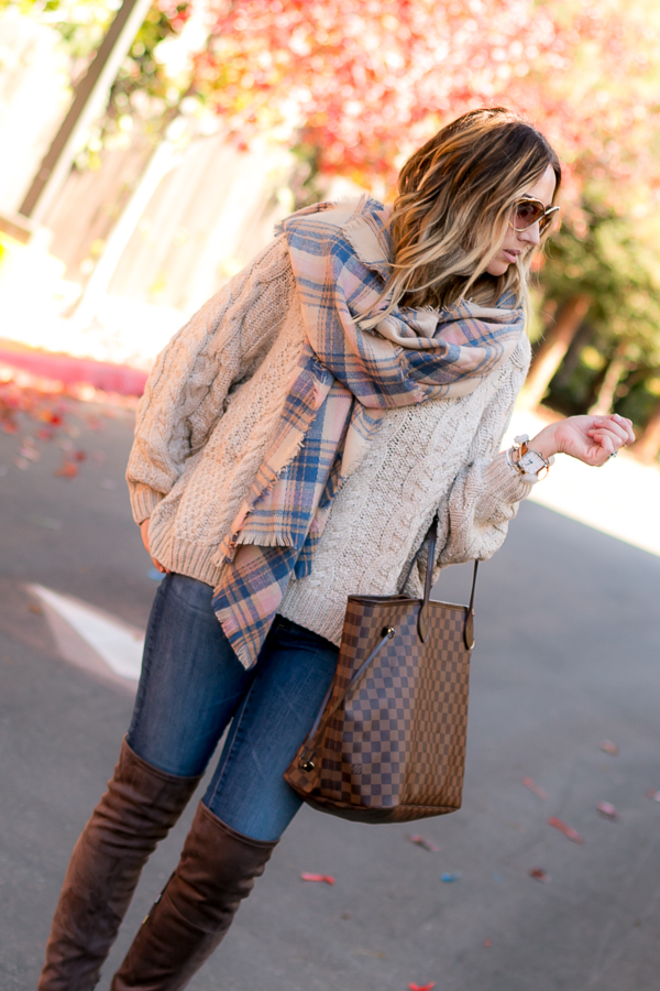 beige chunky cable knit sweater parlor girl