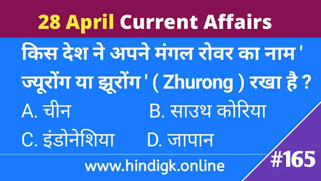 28 April 2021 Current Affairs In Hindi