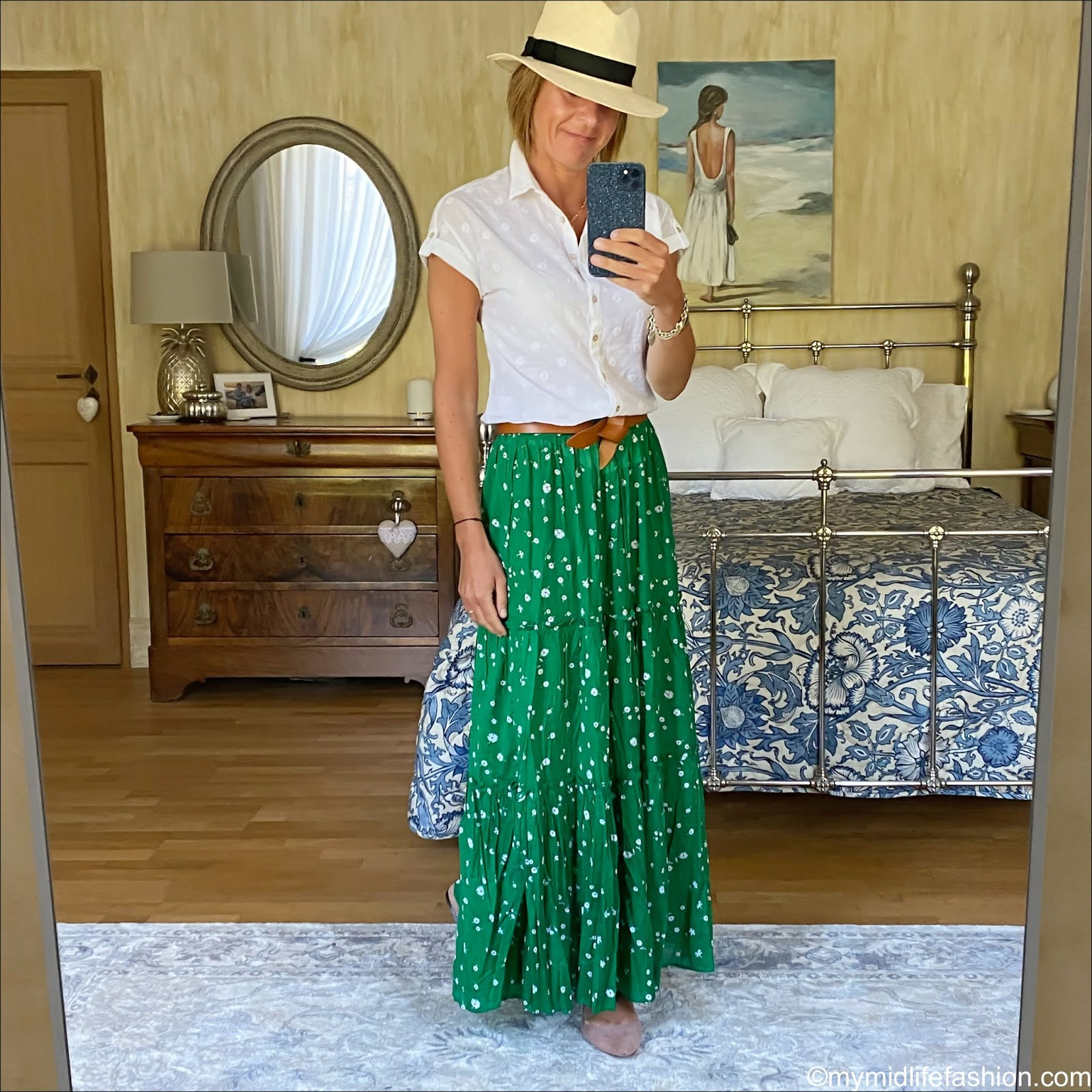 my midlife fashion, h and m Panama hat, white stuff emi spot shirt, Isabel Marant lecce belt, whistles primula floral print skirt, h and m cutout nude flats