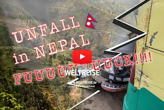 Unfall auf Weltreise, in Nepal. LKW kracht in unseren Bus am Abgrund. Die gefährlichsten Straßen der Welt. WELTREISE.tv Arkadij Schell