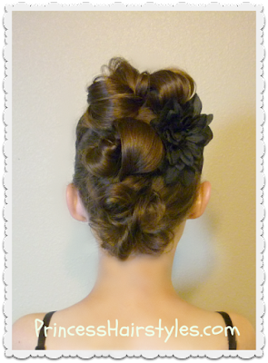Messy bun faux hawk hairstyle video tutorial.