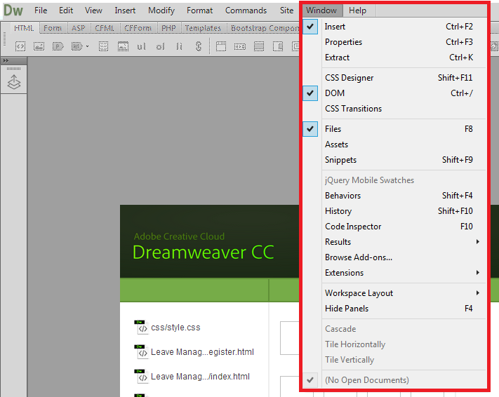 Dreamweaver new version doen't have Database, Data binding