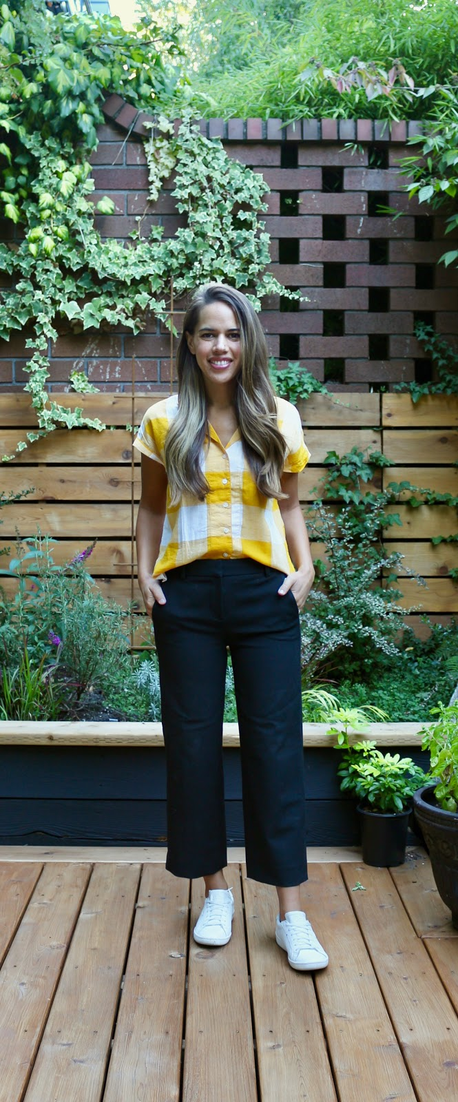 Jules in Flats - Oversized Gingham Button Front Top with Wide Leg Crop Pants (Business Casual Workwear on a Budget)