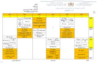جدول الحصص للمستويين الثالث والرابع مزدوج (مشترك) 2021/2022