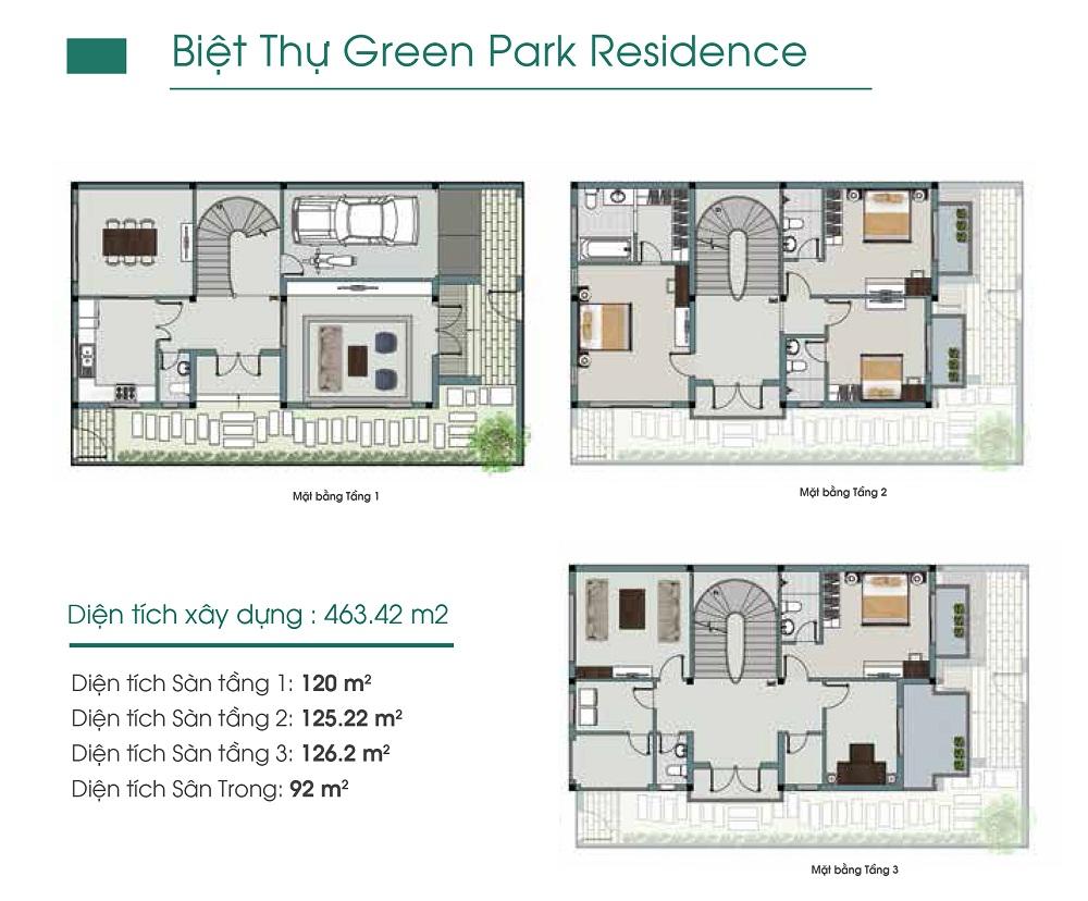 Mặt bằng thiết kết Biệt Thự Him Lam Green Park Đại Phúc