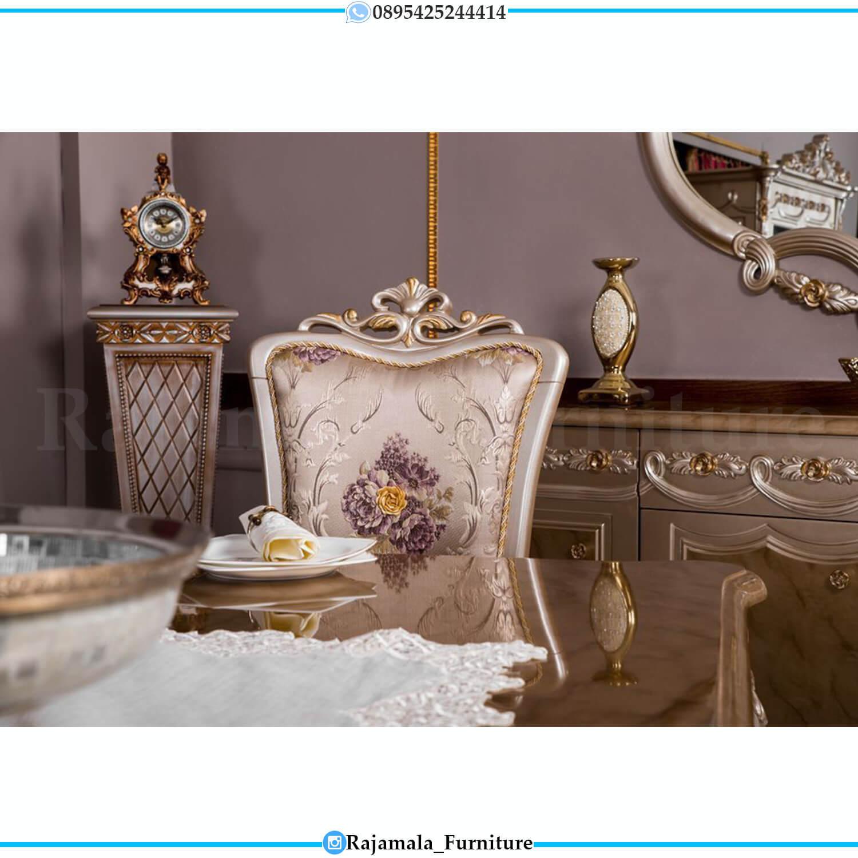 Meja Makan Mewah Ukir Jepara Luxury Beauty Silver Glossy Color RM-0459