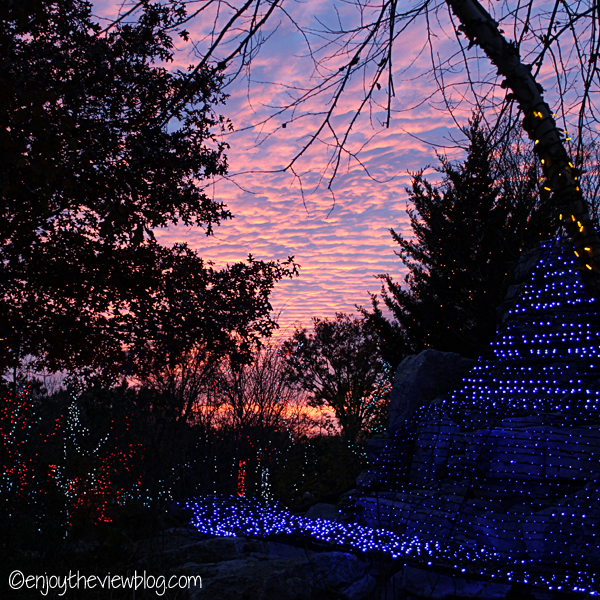 Beautiful pink and blue sunset with holiday light display