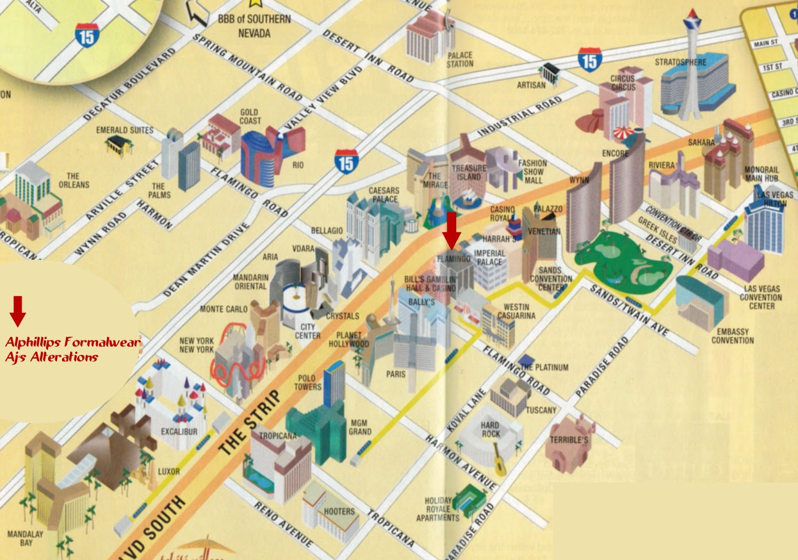map vegas hotel