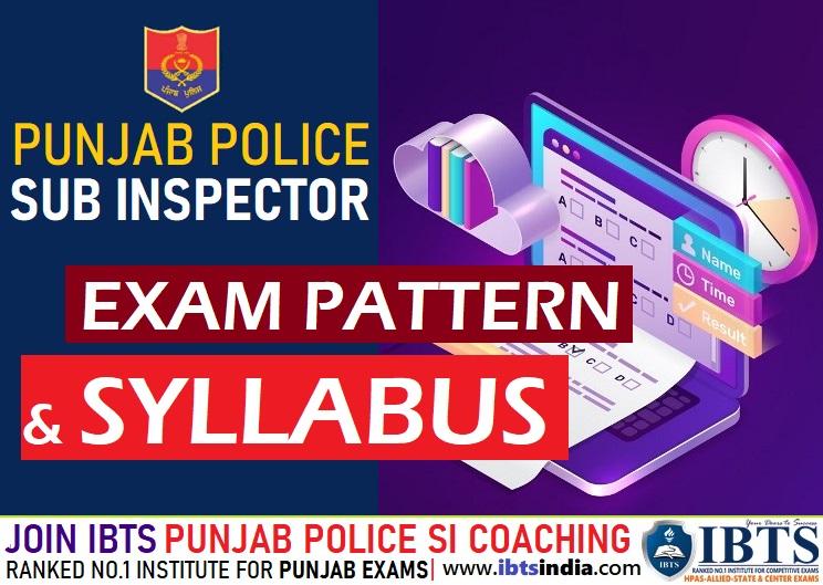 Punjab Police SI  Sub Inspector Syllabus and Exam Pattern 2021