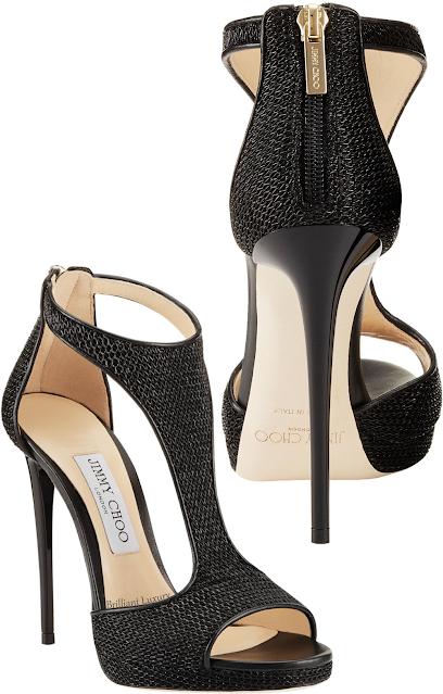 Jimmy Choo black Lana T-bar sandals #brilliantluxury