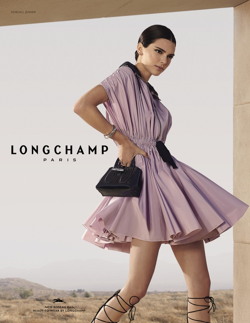 Kendall Jenner poses in Longchamp spring-summer 2020 campaign