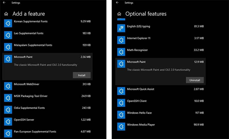 Microsoft Menambahkan Fitur Paint Ke Windows 10 Optional Features