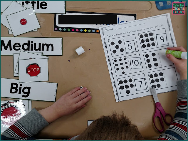 making sets, cut and paste, fine motor activity