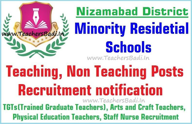 Teaching,Non Teaching posts,Nizamabad Minority Residential Schools