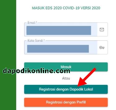 Klik menu Registrasi dengan Dapodik Lokal