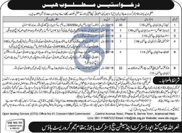 District & Session Judge District Bajaur Jobs (OTS) - Jobs In Pakistan