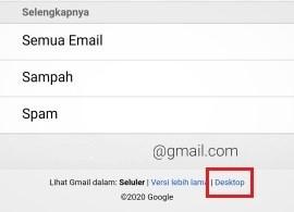 tombol untuk beralih ke Gmail versi desktop