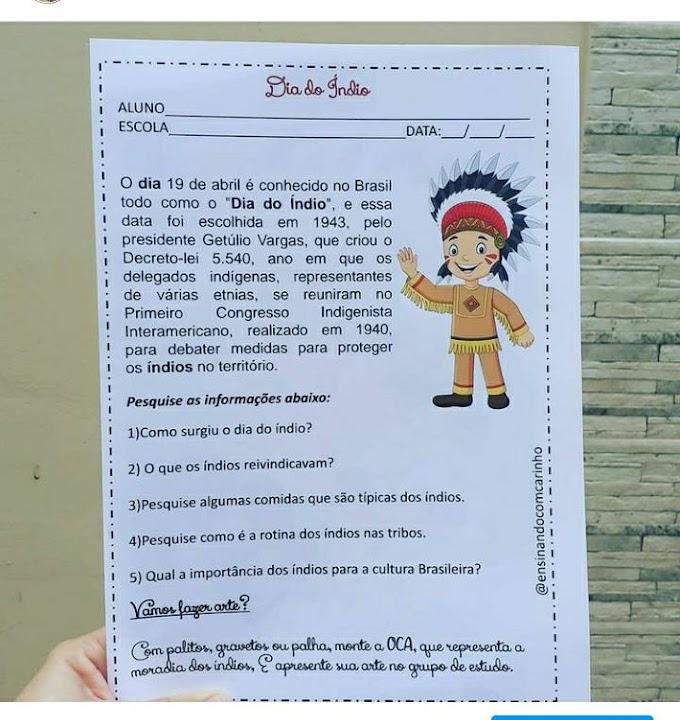 Atividade para trabalhar o dia do índio com interpretação de texto