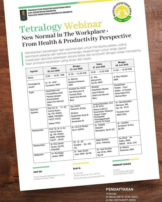 SKP IDI: Tetralogy Webinar: New Normal in The Work Place From Health & Productivity Persprective (Sabtu, 20 Juni 2020)