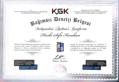 T.C. Kamu Gözetimi Muhasebe ve Denetim Standartları Kurumundan 'Bağımsız Denetçi Belgesi' sertifikası