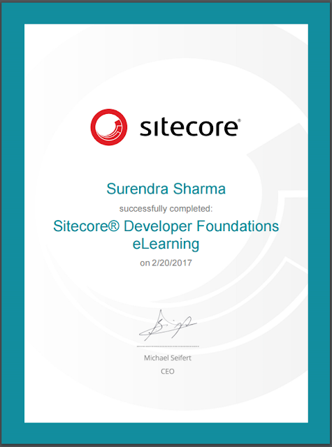 Sitecore Developer Foundations eLearning Certificate