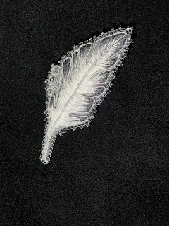 Feather embroidery brooch