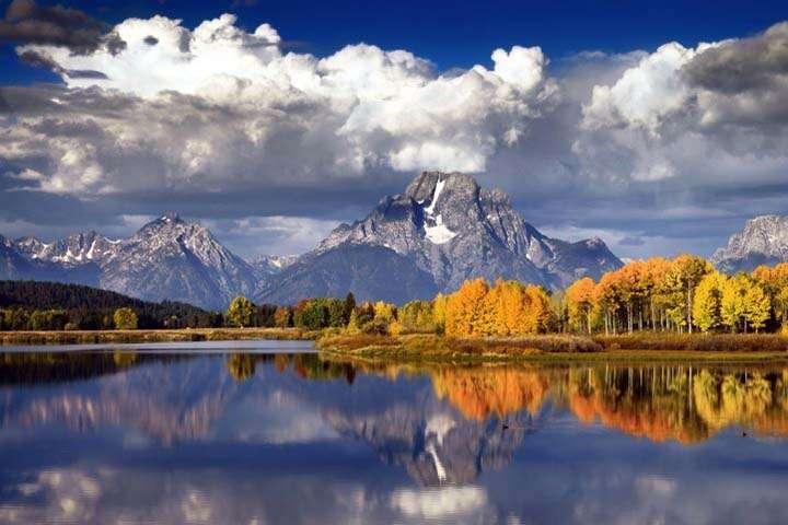 göl manzarası sonbahar resimlerinde