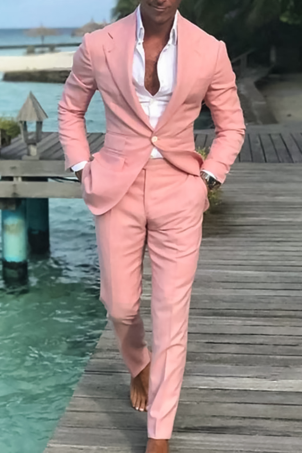 men wearing a relaxed wedding suit on beach