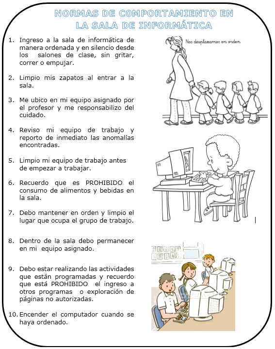 TEMÁTICAS SEGUNDO: Normas de comportamiento en la sala de informática