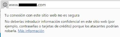 Marcado de página no segura en Google Chrome