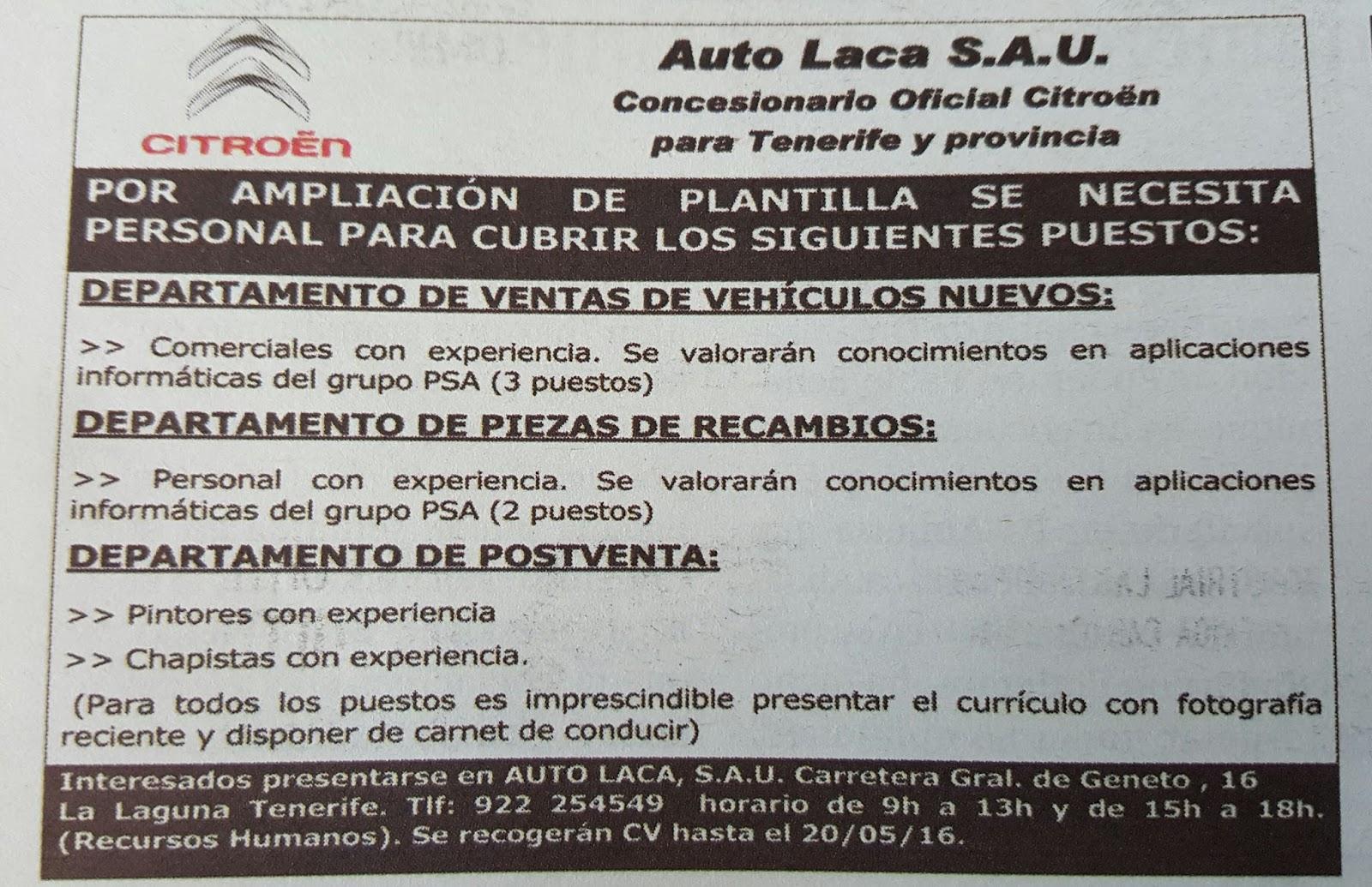 Fpempleo Ofertas De Empleo Auto Laca En Tenerife Y Provincia