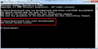 berhasil menjalankan hostednetwork