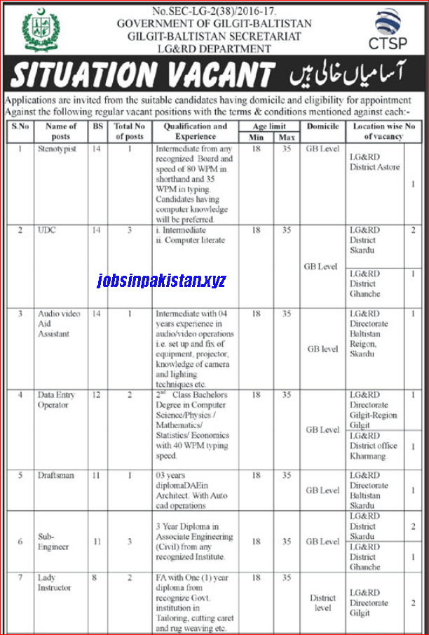 Advertisement for LG and RD Department Jobs 2018 Page 1/3