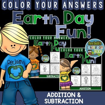 Earth Day Color By Numbers Addition and Subtraction Bundle