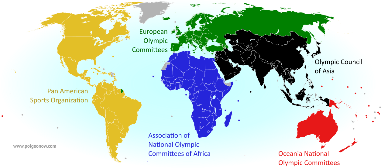 World map showing the five continental associations of National Olympic Committees, including all nations eligible for the PyeongChang 2018 Olympic Games.
