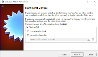 Create New Hard Disk di Virtual Box