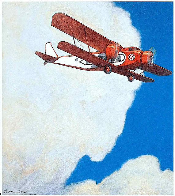 a Maynard Dixon illustration 1930, a red airplane in the sky