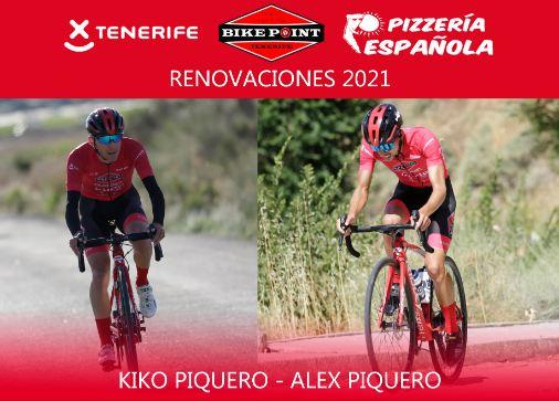 Los hermanos Piquero seguirán una temporada más en el Tenerife BikePoint Pizzería Española