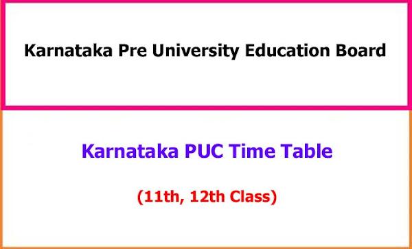 Karnataka  PUC Examination Time Table