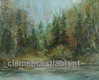 Au bord du lac, huile 16 x 20, 1975, par Clémence St-Laurent - lac en forêt mixte