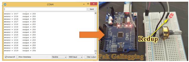 Project Arduino AnalogInput Potensiometer mengatur kecepatan BLINK
