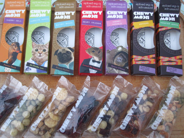 ChewyMoon snack packs open and showing their contents