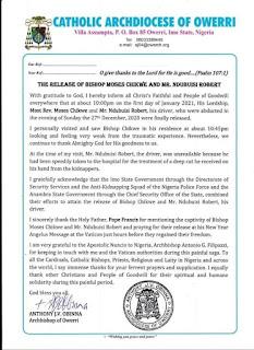 Press Release of Catholic Archbishop of Owerri, Anthony Obinna