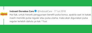 Jawaban CS Indosat via twitter cara pakai bonus pulsa indosat
